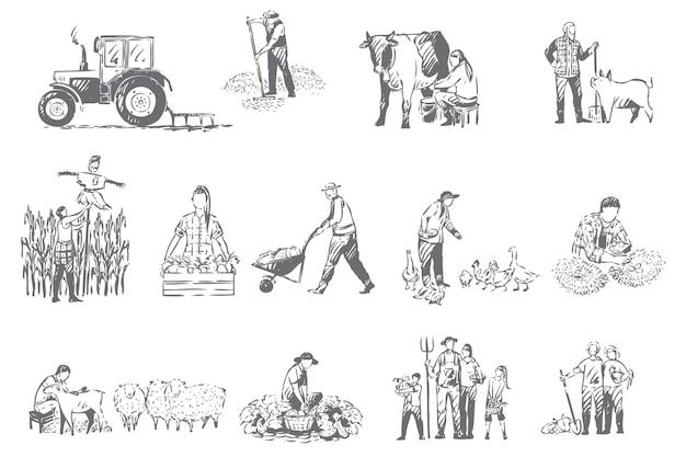 Landbouwbedrijf, plattelandseconomie concept schets illustratie