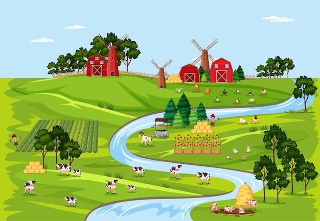 Landbouwbedrijfaard met het landschapsscène van schuren
