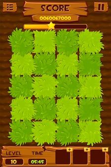 Landbouwbedrijfgebied met groene struiken voor een spel. illustratie van match 3 interface-ontwerp.