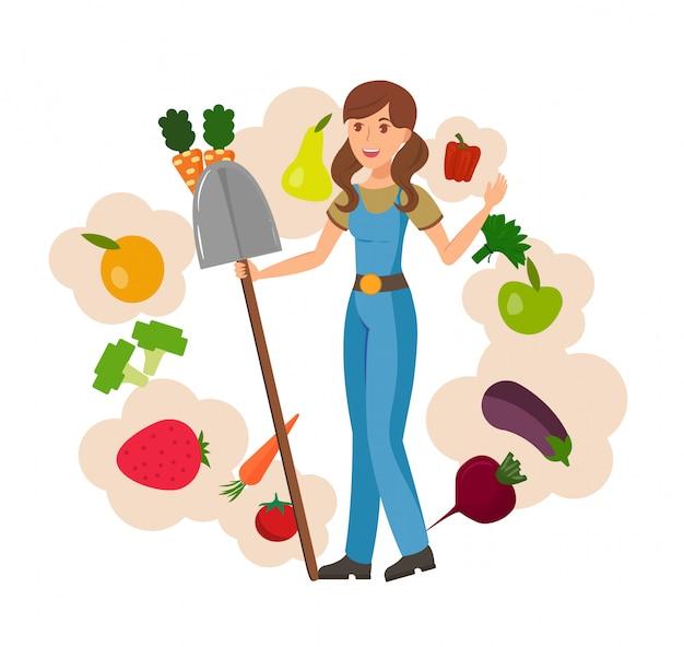 Landbouwbedrijfmeisje en het oogsten vlakke vectorillustratie