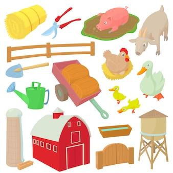 Landbouwbedrijfpictogrammen in beeldverhaalstijl geïsoleerde vectorillustratie worden geplaatst die