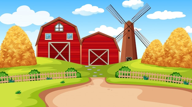 Landbouwbedrijfscène in aard met schuur