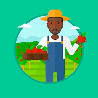 Landbouwer die appelen vectorillustratie verzamelen.