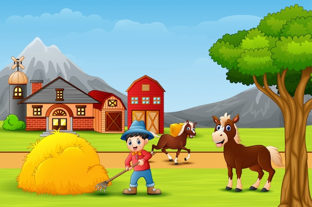 Landbouwer die bij het landbouwbedrijflandschap werkt