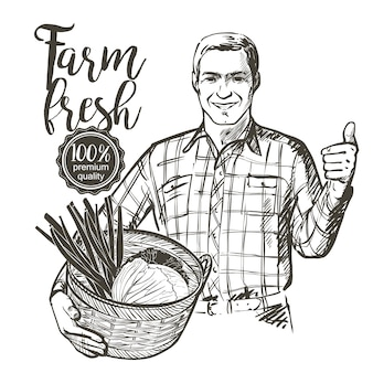 Landbouwer die een mandhoogtepunt van verse groententomaten draagt