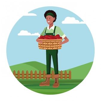 Landbouwer die in kampbeeldverhaal werken