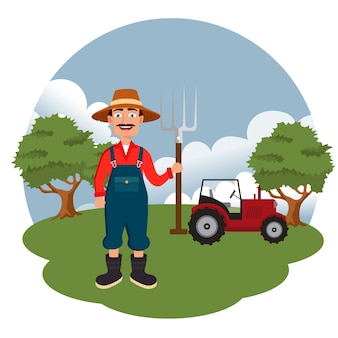 Landbouwer die zich naast tractor bevindt