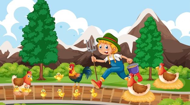 Landbouwer met de scène of de achtergrond van het kippenpark