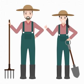 Landbouwer met landbouwhulpmiddel
