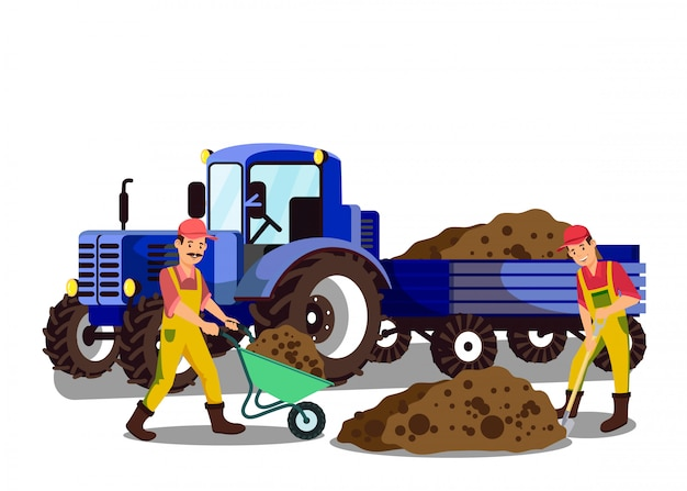 Landbouwers die grond vlakke vectorillustratie graven