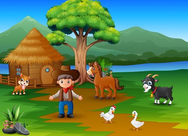 Landbouwersactiviteit op de prachtige natuur met dierenboerderij