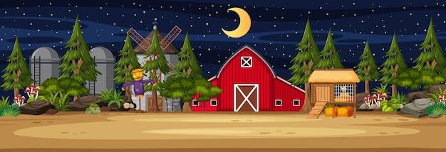 Landbouwgrond horizontale scène met schuur en windmolen 's nachts
