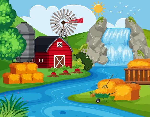 Landbouwgrond met waterval
