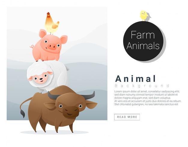 Landbouwhuisdieren achtergrond met tekstsjabloon