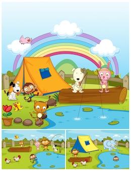 Landbouwhuisdieren die in het park spelen