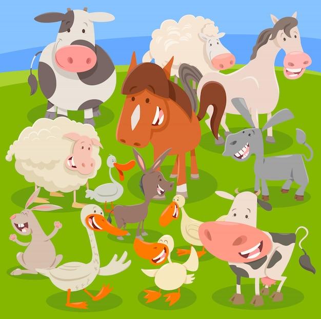 Landbouwhuisdieren op weide cartoon afbeelding