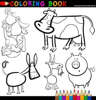 Landbouwhuisdieren voor kleurboek of pagina