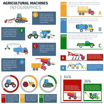 Landbouwmachines infographic set