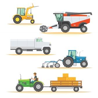 Landbouwmachines instellen. voertuigen voor landbouwmachines en landbouwmachines. tractoren, oogstmachines, maaidorsers.