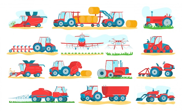 Landbouwmachinesreeks op witte illustraties. landbouwvoertuigen en landbouwmachines. trekkers, oogstmachines, maaidorsers. landbouw en agribusiness van oogst- en oogstapparatuur.