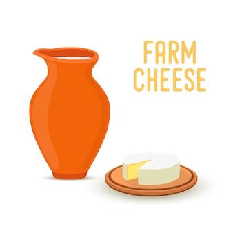 Landbouwproduct - natuurlijke kaas met melk in kruik