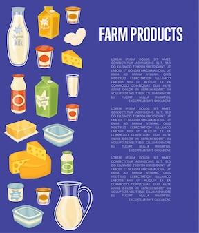 Landbouwproducten banner met zuivel pictogrammen