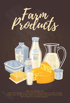Landbouwproducten illustratie met tekstsjabloon met zuivel samenstelling