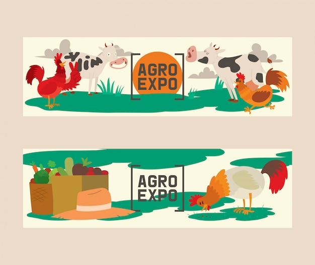 Landbouwproducten set van banners vector illustratie. agro-expositie. verzameling van cute huisdieren. huisdieren als koe, haan of haan. lokale markt.