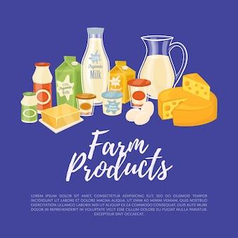 Landbouwproducten sjabloon met zuivel samenstelling