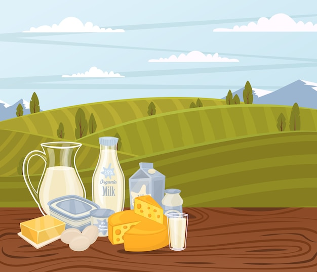 Landbouwproductenachtergrond met zuivelsamenstelling