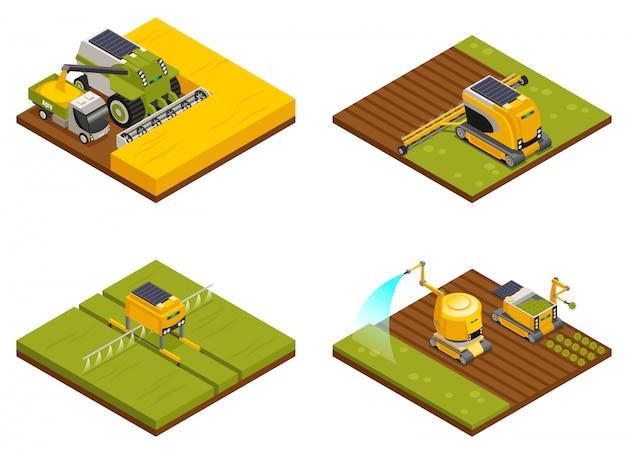 Landbouwrobotsconcept 4 isometrische composities met schoffelen, ploegen, planten, drenken, bemesten en oogsten