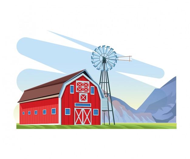 Landbouwschuur en windmolenlandschapsbergen