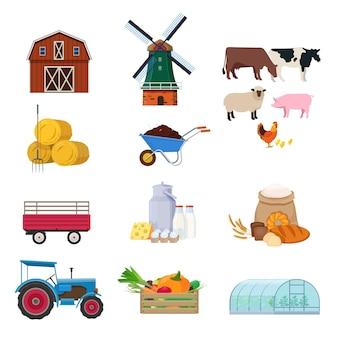 Landbouwset met agrarische gebouwen vervoeren dierenproducten en uitrusting