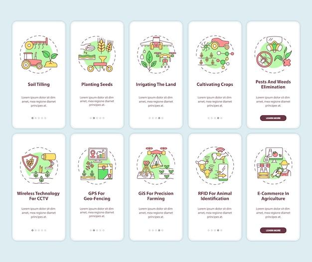 Landbouwtechnologie onboarding mobiele app-paginascherm met ingestelde concepten.