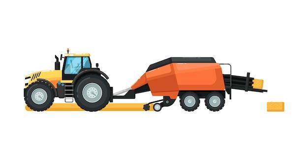 Landbouwtractor met hooipersmachine