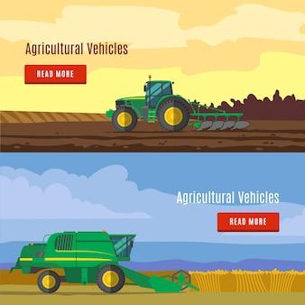 Landbouwvoertuigen flat banners