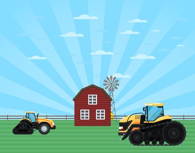 Landelijk landbouwindustrieconcept met tractor