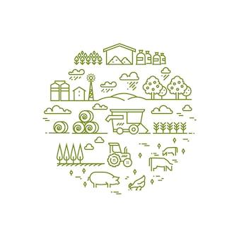 Landelijk landschap en landbouw die dunne lijnpictogrammen bewerken