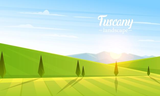 Landelijk landschap. landbouw landbouw. illustratie. poster met weide, platteland, retro dorp voor info afbeelding, websites. windmolen en hooi. zomer ochtend achtergrond.