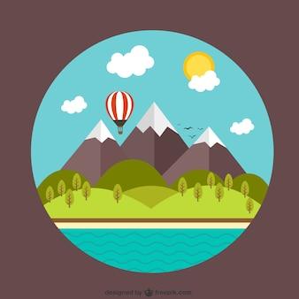 Landelijk landschap met bergen en het strand
