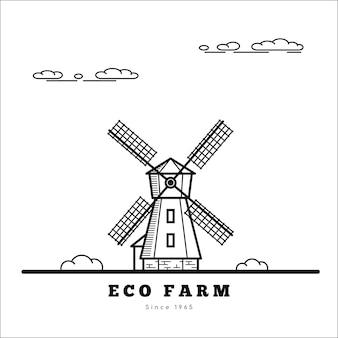 Landelijk landschap met windmolen. eco boerderij concept