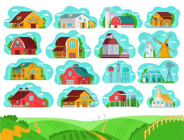 Landelijke boerderijgebouwen instellen Premium Vector