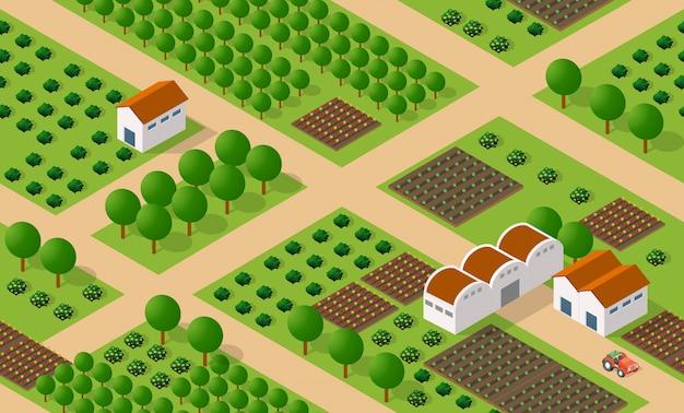 Landelijke isometrische boerderij op de boerderij