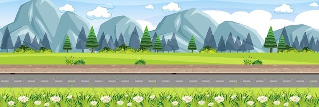 Landelijke natuur wegscène
