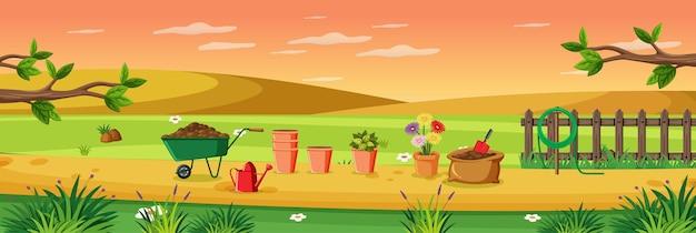 Landelijke tuin openluchtscène
