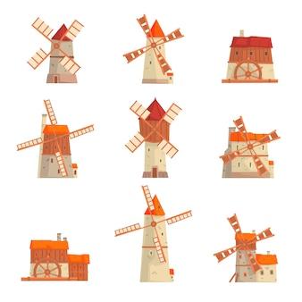 Landelijke windmolens ingesteld. collectie van traditionele windmolens vectorillustraties