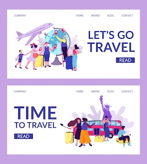 Landende mensen reizen op website set, web toerist op sjabloon pagina illustratie. karakter bij dia concept. reis element collectie, vakantie achtergrond.