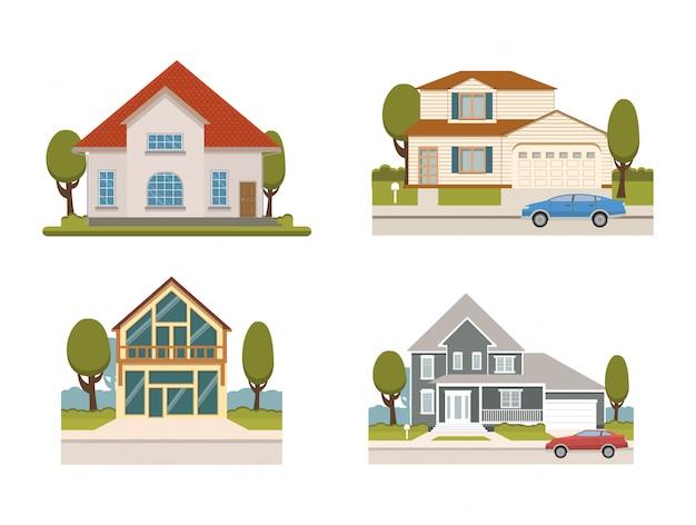 Landhuis met garage en auto. cottage in de voorsteden.