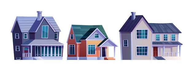 Landhuizen huisjes met garage gebouwen pictogrammen