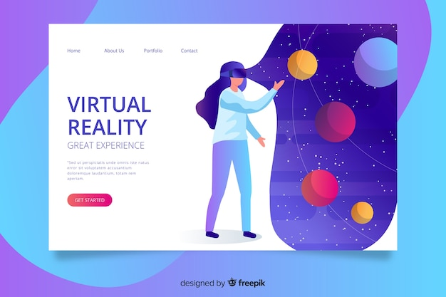 Landin paginasjabloon voor virtual reality
